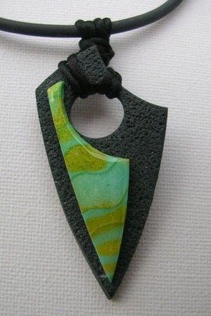 polymer clay pendant (abstract, color and texture contrast)