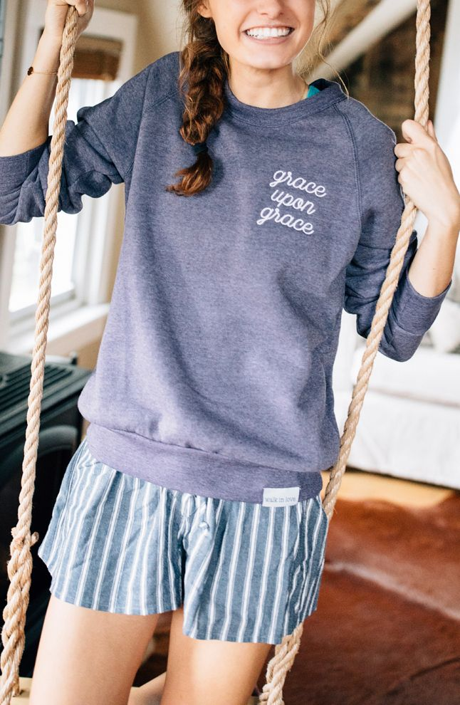 You don't have to pack away the PJ shorts just yet! You can warm up your lounge time look with this Grace Upon Grace Embroidered Crewneck Sweatshirt in Eco Plum! Slip on some tall cozy socks and you're all set to never leave the house! But when you need to, you can swap the pajama bottoms for your favorite jeans and still have the perfect fall look!
