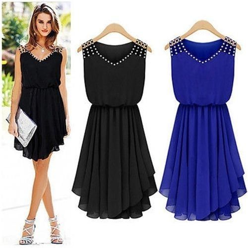 chic femme robe asymetique tenue de soiree cocktail dress strass chiffon neuf lb bon look. Black Bedroom Furniture Sets. Home Design Ideas