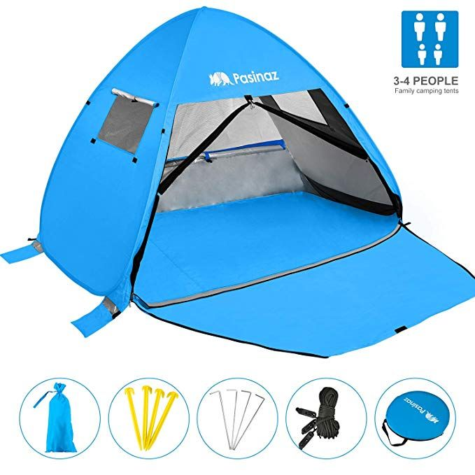 Pasinaz Pop Up Tent 3 4 People Family Beach Tent Camping Shelter Anti Uv Sun Shade Outdoor Cabana Review Beach Tent Tent Outdoor Cabana