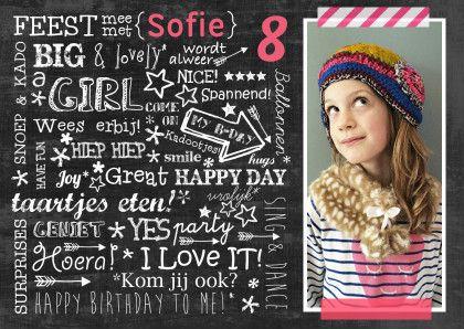 feestje meisje chalkboard tekst  - Uitnodigingen - Kaartje2go