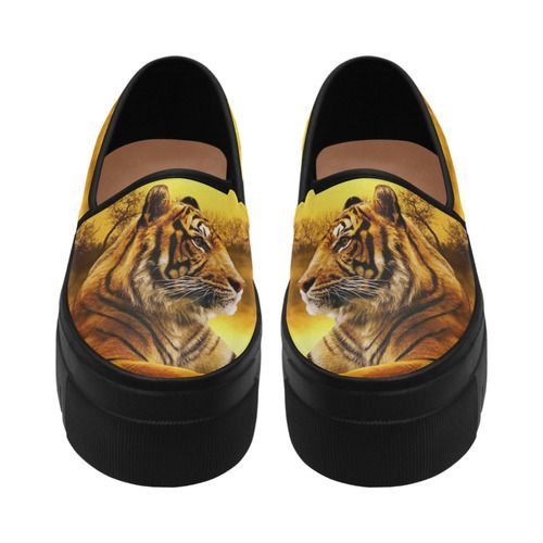 Tiger and Sunset Selene Deep Mouth Women Shoes (Model 311)
