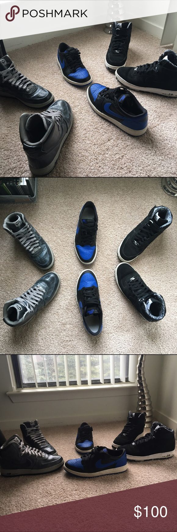 Nike Air Force one(s) and Nike Jordan air retro 1 Bundle! 3 pairs of Nike shoes, Air Force one and Jordan retro 1 low top, these can also be bought as single pairs check them out in my closet! Nike Shoes Sneakers