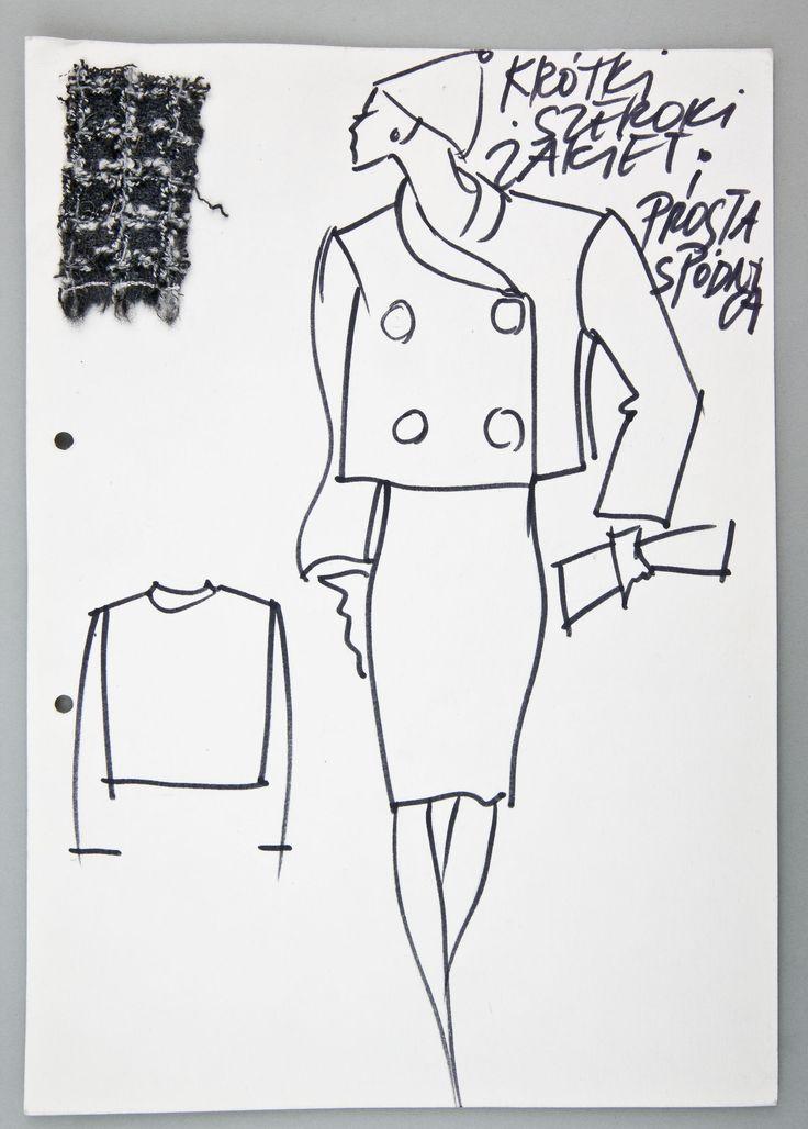"""Jerzy Antkowiak, """"Moda Polska"""", Krótki szeroki żakiet i prosta spódnica, ok. 1990 (?), wł. MNK #PRL #Moda Polska #Polish fashion #Jerzy Antkowiak"""