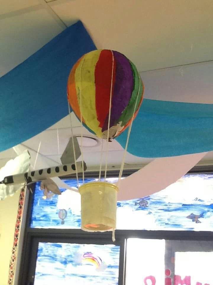 Transport activities in the classroom: paper mache hot air balloon