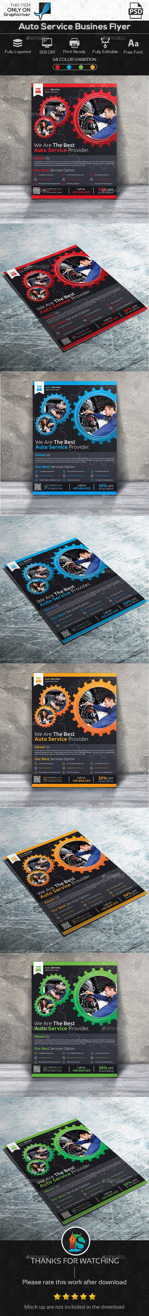 Auto Service Business Flyer by DesignSign This is a Auto Service Business Flyer. This template download contains 04 PSD files, which is 300 dpi, CMYK files. All main elemen