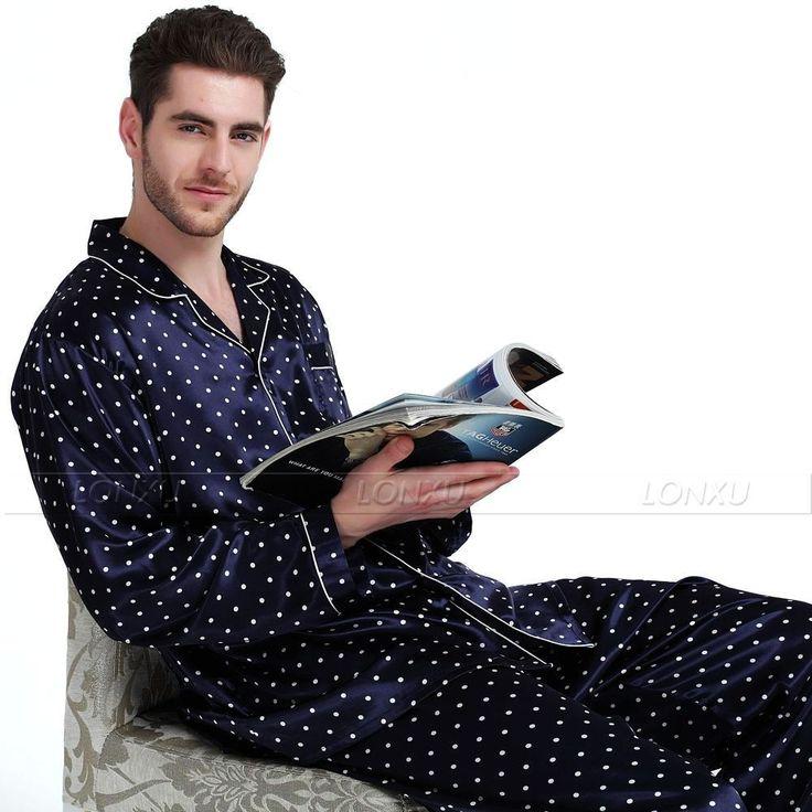 Mens Silk Satin Pajamas Set Pyjamas Set  Pajama  Set  PJS Sleepwear  Polka Dot