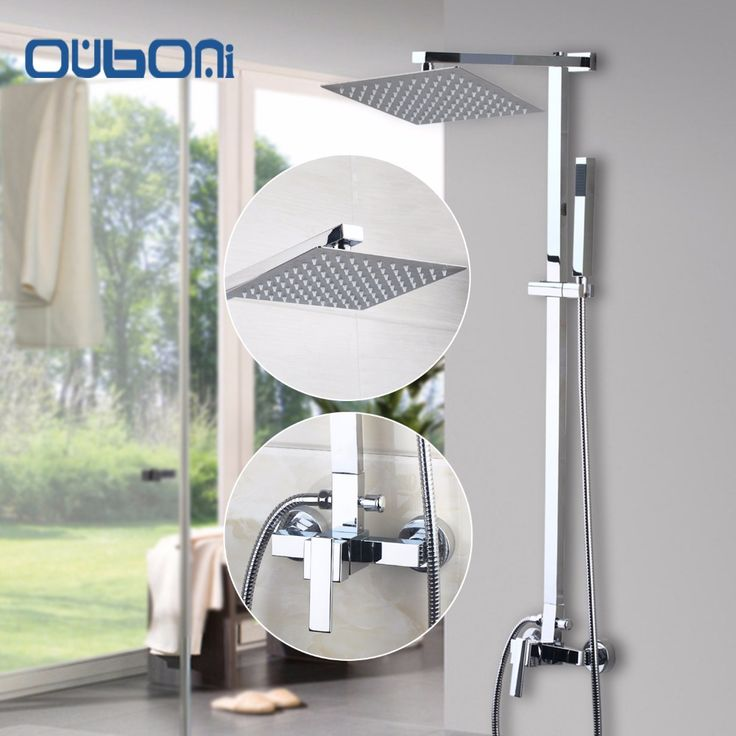 "67.99$  Watch now - http://aliiu7.shopchina.info/1/go.php?t=32809466745 - ""US Stock Ouboni New Bathroom Shower Set Wall Mounted Shower Faucet 8"""" Shower Head Water Saving Shower Set Faucets Brass Chrome""  #magazineonline"