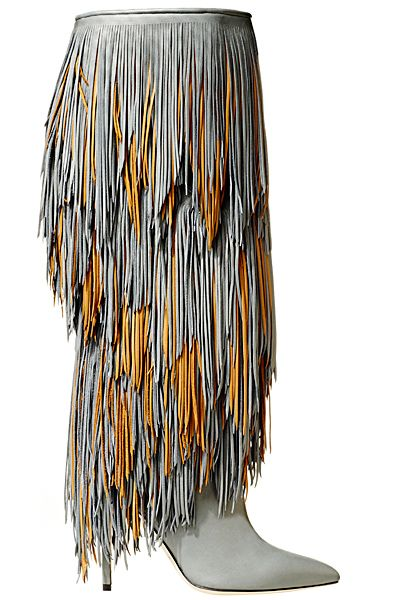 Brian Atwood - Accessories - 2014 Fall-Winter gray yellow fringe boots