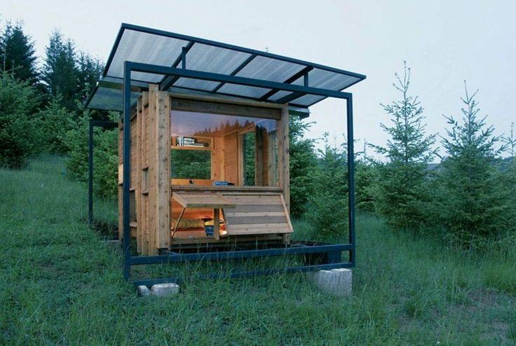 estupenda cabaña de acero y madera