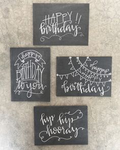 Set of Four Handlettered + Modern Calligraphy Chalkboard Inspired Birthday Cards