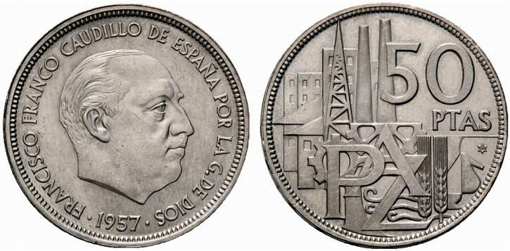 Moneda de 50 Pesetas de la epoca.