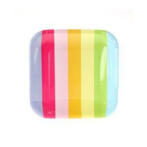 Let's Party With Balloons - Sambellina Rainbow Stripe Square Plates, $9.00 (http://www.letspartywithballoons.com.au/sambellina-rainbow-stripe-square-plates/?page_context=category