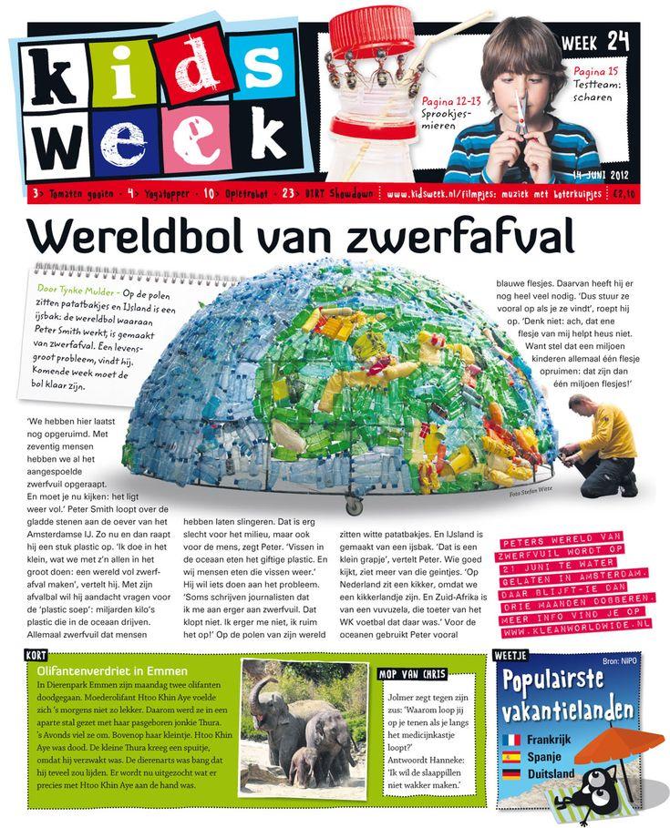 Wereldbol van zwerfafval in Kidsweek 14 juni 2012, #plasticsoep #plasticsoup