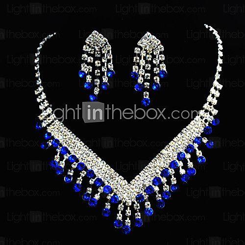 Conjunto de jóias Mulheres Aniversário / Casamento / Noivado / Presente / Ocasião Especial Conjuntos de Joalharia Liga StrassBrincos / de 2016 por R$30.39