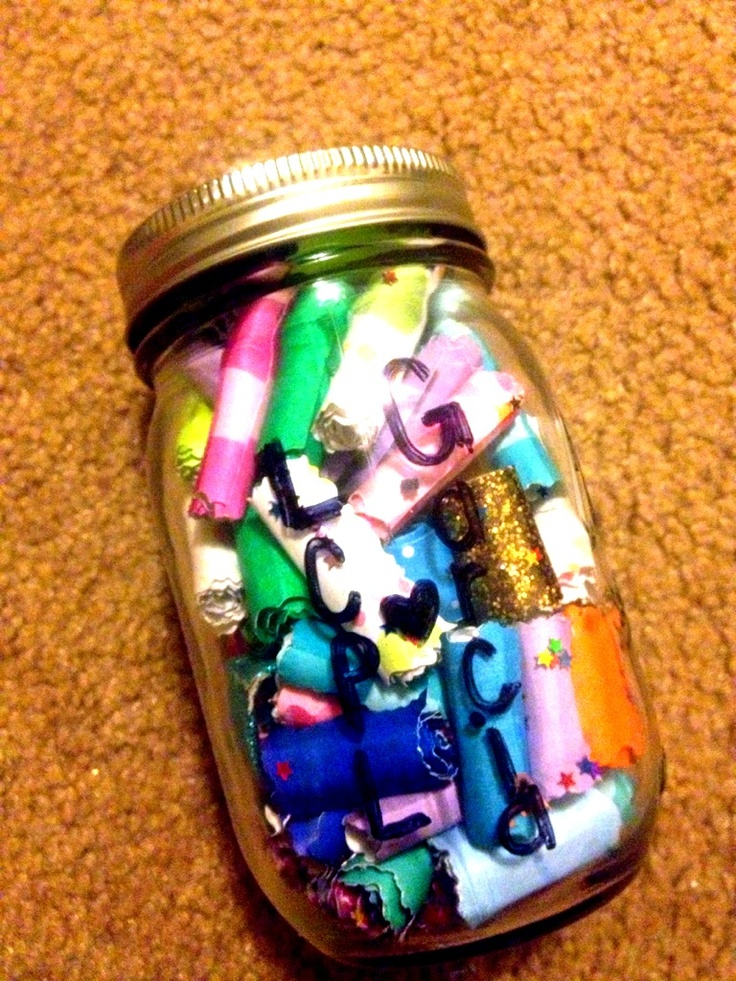 Jar of notes.  Fill an ordinary jar with notes about your friend. They could be fun memories or stories from the past or a kind message telling your friend how wonderful they are. Whatever you write it's sure to touch the heart of the receiver.  Complete by decorating the jar with cute designs and stickers.