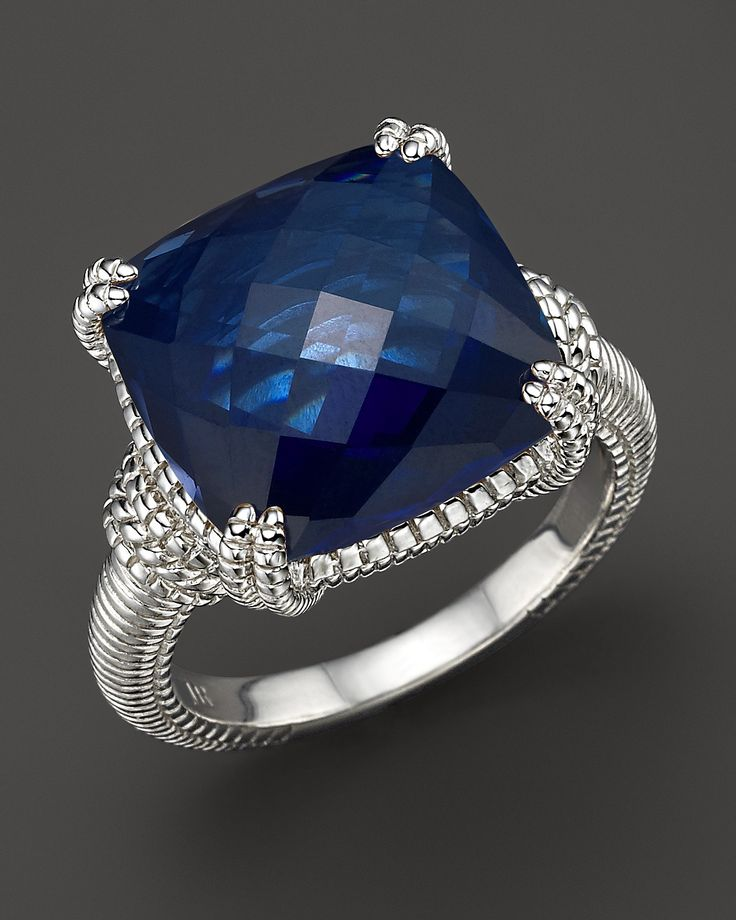 Judith Ripka Sterling Silver Cushion Stone Ring with Lab-Created Blue Corundum | Bloomingdale's