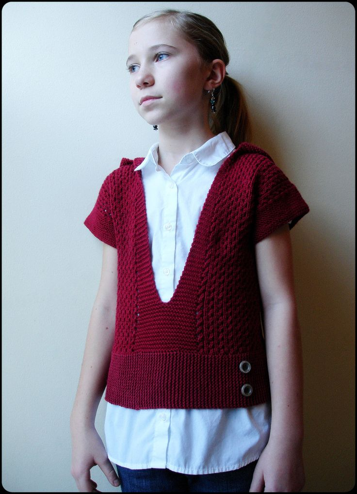 Knitting Pattern Cardigan 4 Year Old : Mae For Girls - Hooded Pullover Sweater - PDF Knitting Pattern For Children -...