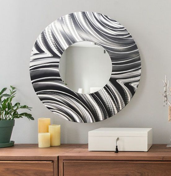 Mirror 112 large silver round wall mirror contemporary metal wall art home decor