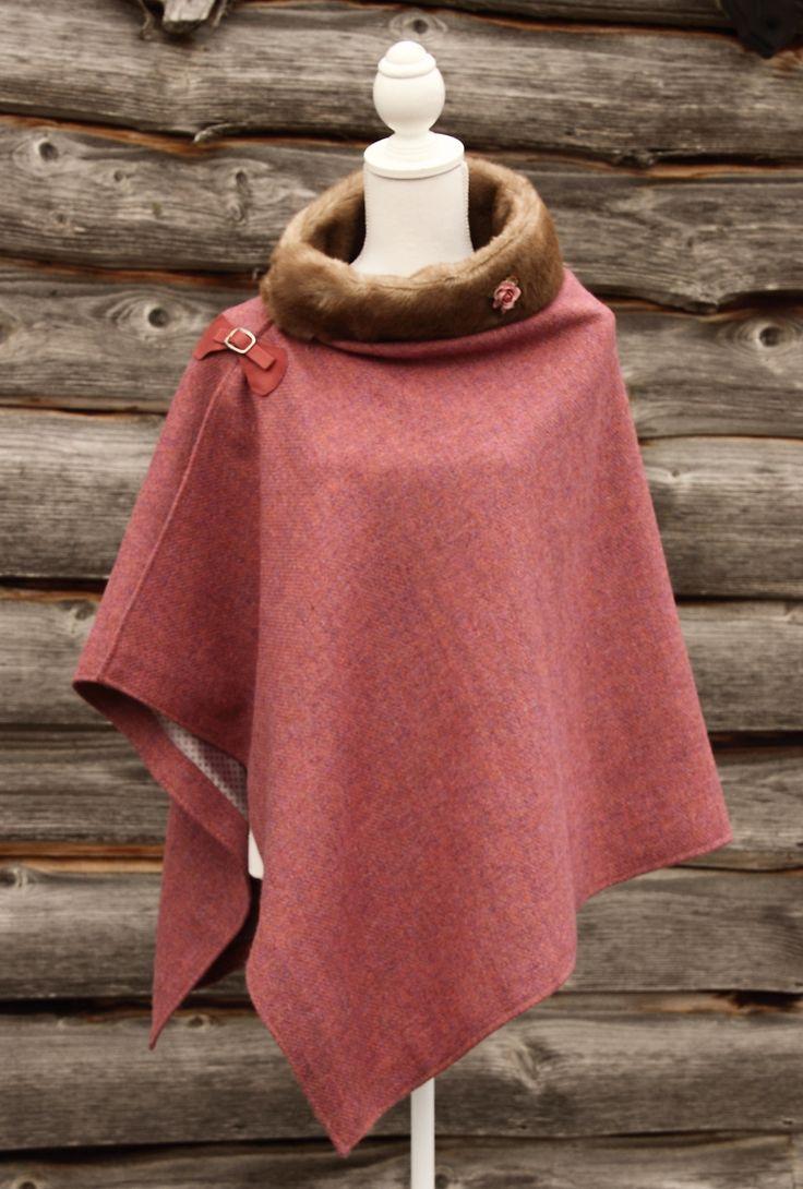 Harris Tweed & Vintage Fur Rose Wrap