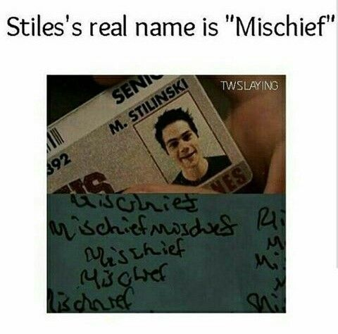 It's not mischief! That's just a clue as to what his real name is...people are stupid oh my gosh