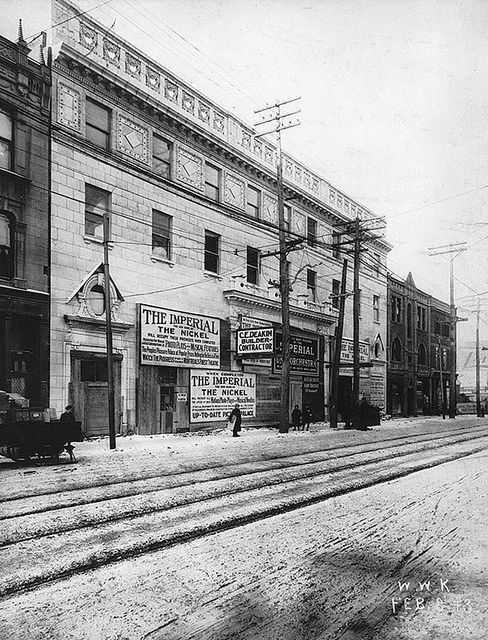 Imperial Theatre, Nicklodeon, Bleury St., Montreal, QC, 1913. #vintage #Canada #Edwardian #streets