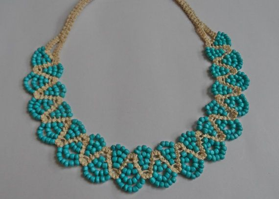 Blue Cream Handmade NecklaceKnitting by AccessoriesInLove on Etsy, $16.90