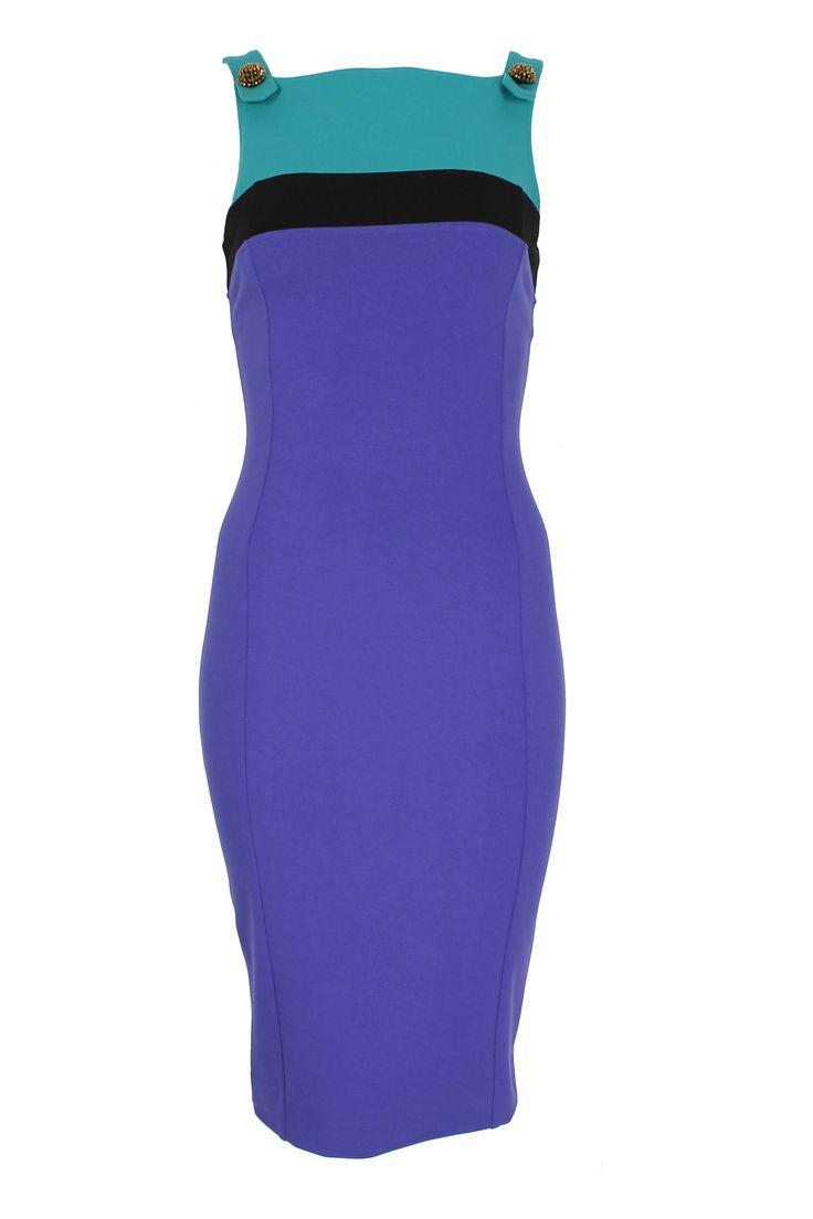 #robertocavalli #classbycavalli #cavalli #classbyrobertocavalli #tricolor #fitted #cocktaildress #purple #turquoise #black
