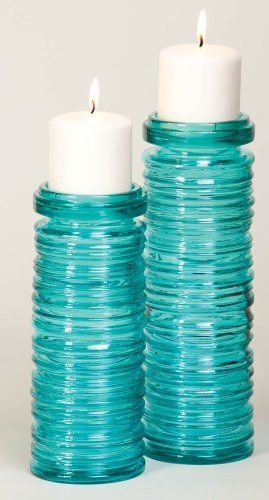 Teal Cylinder Rings Candle Holders by Gifted Living, http://www.amazon.com/dp/B004UM9O9M/ref=cm_sw_r_pi_dp_DbOjsb11QHFCF #TopToBottom #WearTeal #Belabumbum