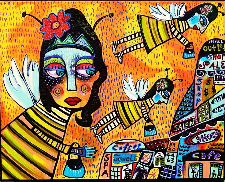 Queen Bee Shopping - SILBERZWEIG ORIGINAL Art PRINT - mexican, honey bee, mall,  goddess, ladies, stores. $16.00, via Etsy.