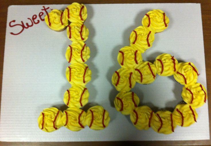 Sweet 16 softball style cupcake cake