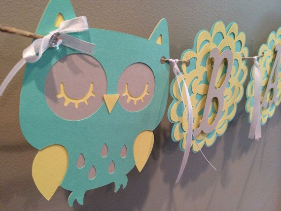 Owl Theme Baby Shower Banner on Etsy, $25.00