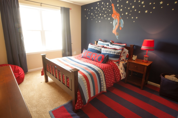 A little boy would love this room inspired by spiderman by for Spiderman kids room