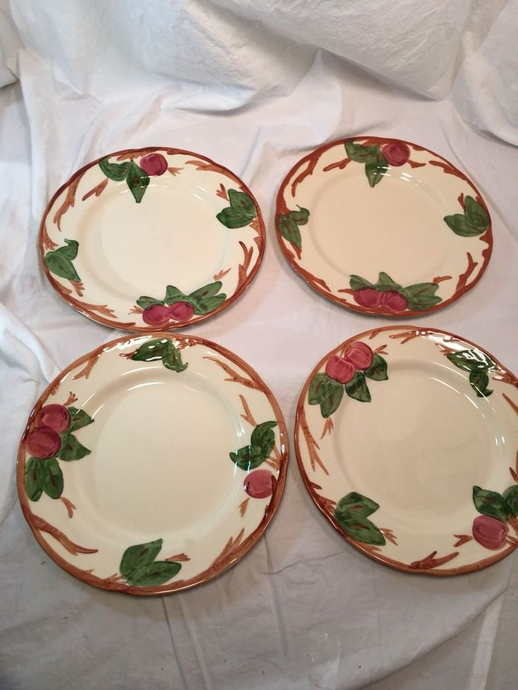 "Franciscan Ware Apple Pattern set of 4 FOUR 10 1/2"" dinner plates England #FranciscanWare"