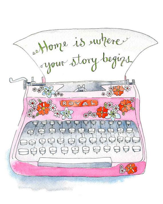 "Typewriter Typography Illustration Art Print Pink  "" Home"" Poster 8"" x 10"" Vintage Style on Etsy, $20.69"