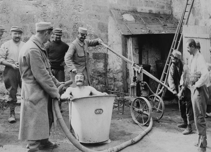WWI, 1915, makeshift bath near the frontline.                                                                                                                                                                                 More