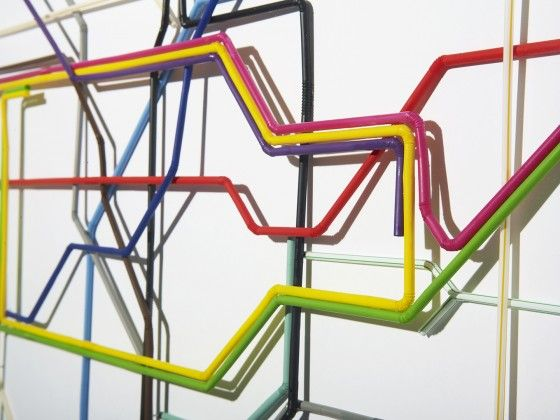 Kyle Bean: Tube Map Zone One of the London Underground map made from drinking straws. Photos: Jean-luc Brouard
