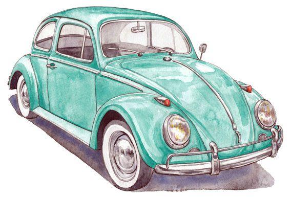 Volkswagen Archival Art Print Original Watercolor Painting