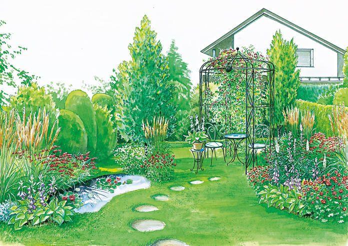 Pavillon und Gartenteich
