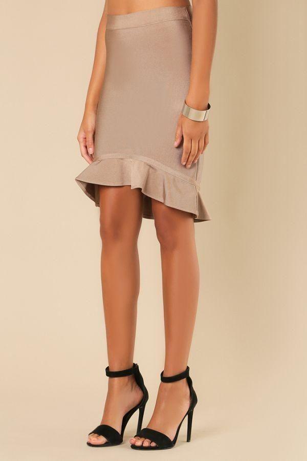 Almond 'LLUVY' Tulip Fluted Hem Hi-Lo Mini Bandage Skirt