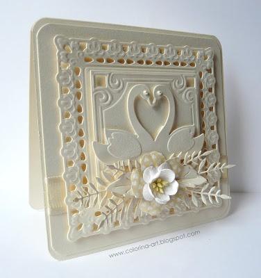I love white on white texture cards!