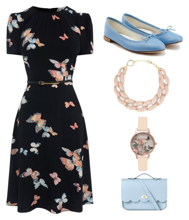 Pink & Blue by aquabanana on Polyvore featuring polyvore, fashion, style, Repetto, The Cambridge Satchel Company, DIANA BROUSSARD, Olivia Burton and clothing