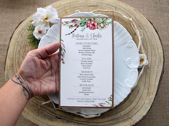 Green Watercolor Wedding Dinner Menu Pink Dinner Menu Floral