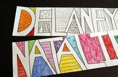 doodle names drawing activity for kids - for parents and kids to do together... love make and takes projects! thanks, mariel