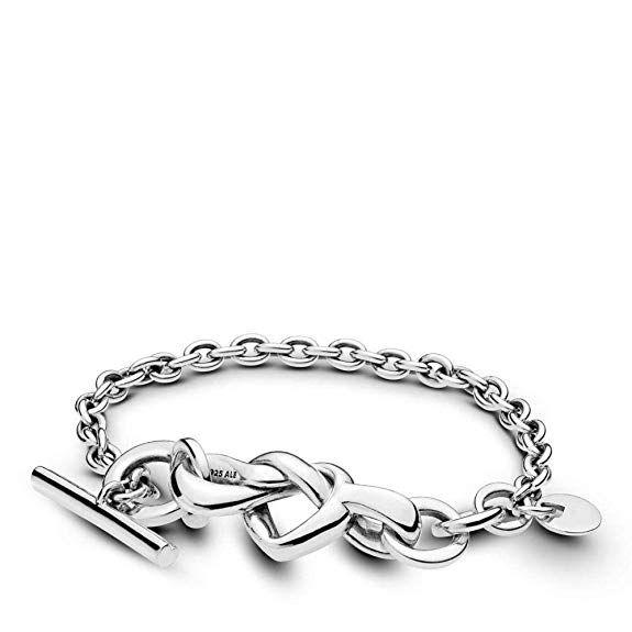 925 Sterling Silver Infinity Love Knot Symbol Charm Ball Stretchable Bracelet