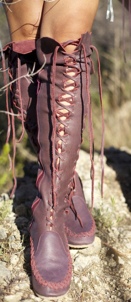 Leather Boots – Red Wine Knee High Leather Boots | Gipsy Dharma