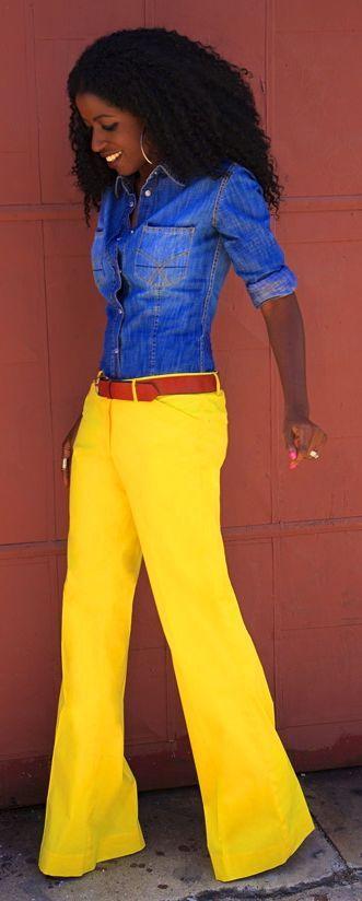 Yellow Wide Leg Poplin Pants by Style Pantry