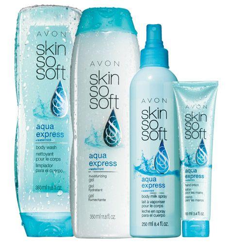 SKIN SO SOFT Aqua Express 4-Piece Hydration Station on sale in Avon Catalog Campaign 14 brochure. http://mbertsch.avonrepresentative.com #AvonCatalog #AvonBrochure #AvonCampaign