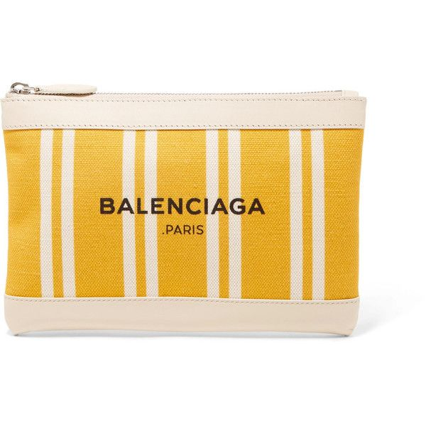 Balenciaga Balenciaga - Leather-trimmed Striped Canvas Pouch - Yellow (€335) ❤ liked on Polyvore featuring bags, handbags, clutches, balenciaga pochette, yellow handbags, balenciaga handbags, yellow clutches and balenciaga