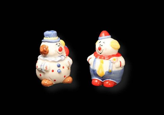 75% OFF SALE:  Salt and Pepper Shakers, Ceramic Salt Pepper, Vintage Salt and Pepper, Clown Salt and Pepper Shakers, Clearance by clockworkrummage. Explore more products on http://clockworkrummage.etsy.com